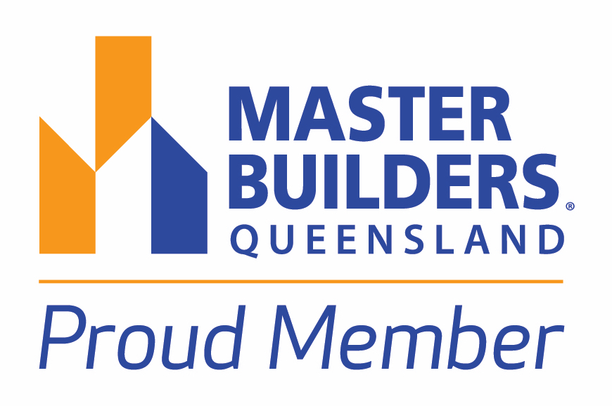 White badge saying Proud member of the Master Builders Association Queensland
